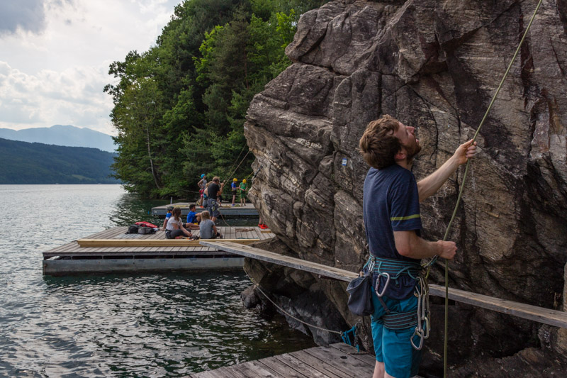 The climbing area at lake 'Millstättersee' is another very interesting climbing area close to Villach.