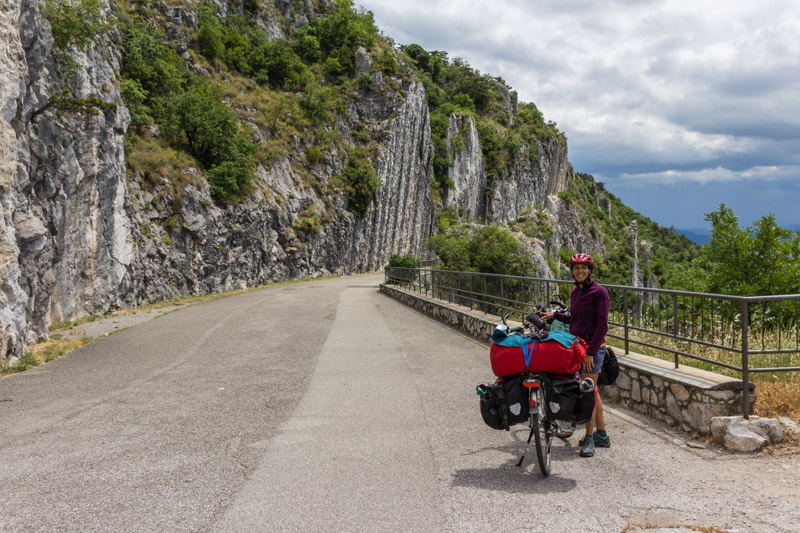 Napolenica - Climbing directly next to the old road, which is closed for traffic.