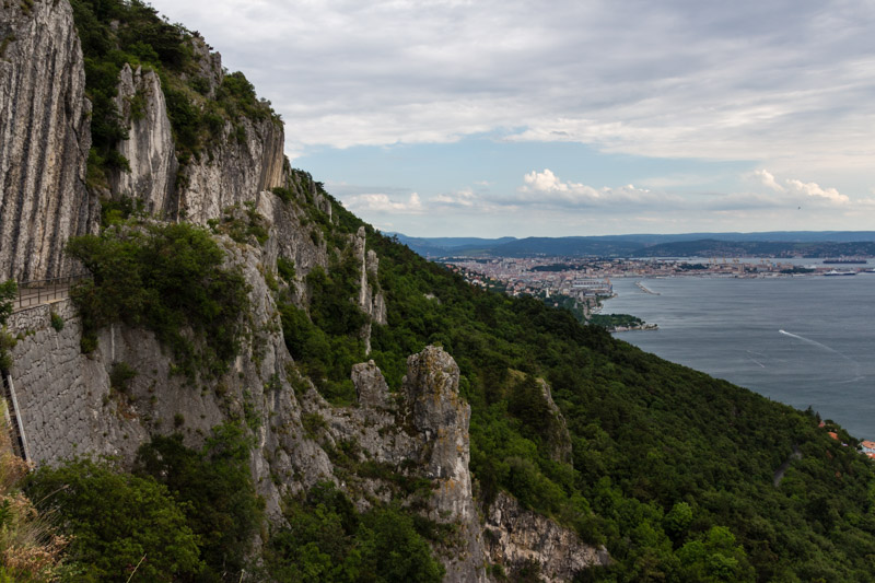Fantastic view from the climbing area Napolenica down to Triest.